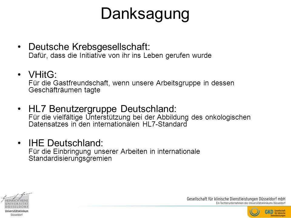 Danksagung Deutsche Krebsgesellschaft: Dafür, dass die Initiative von ihr ins Leben gerufen wurde.