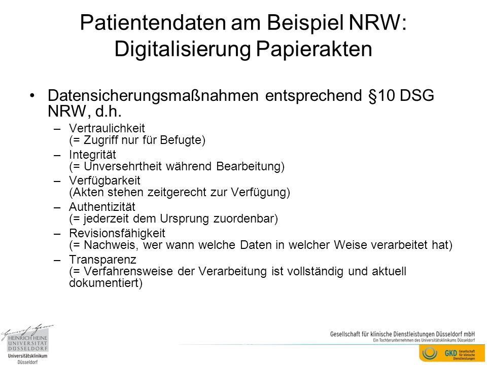 Patientendaten am Beispiel NRW: Digitalisierung Papierakten