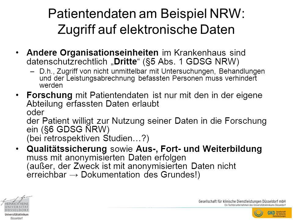 Patientendaten am Beispiel NRW: Zugriff auf elektronische Daten
