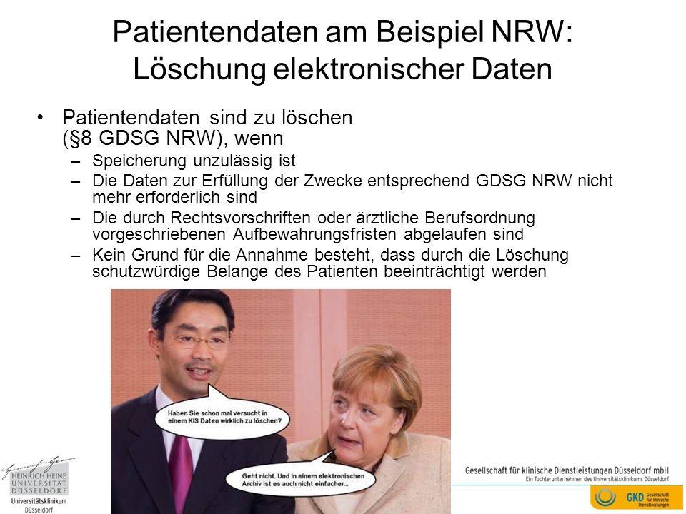 Patientendaten am Beispiel NRW: Löschung elektronischer Daten