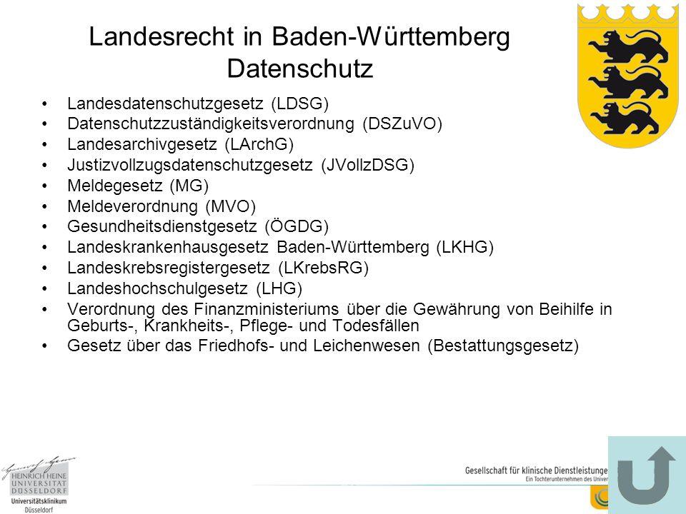 Landesrecht in Baden-Württemberg Datenschutz