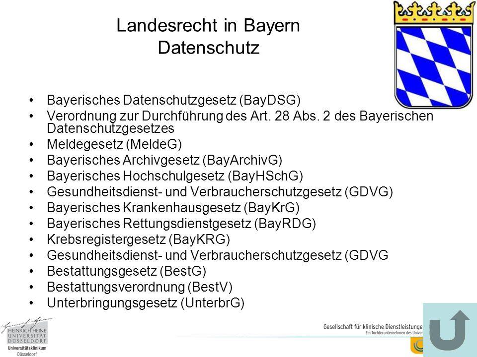 Landesrecht in Bayern Datenschutz