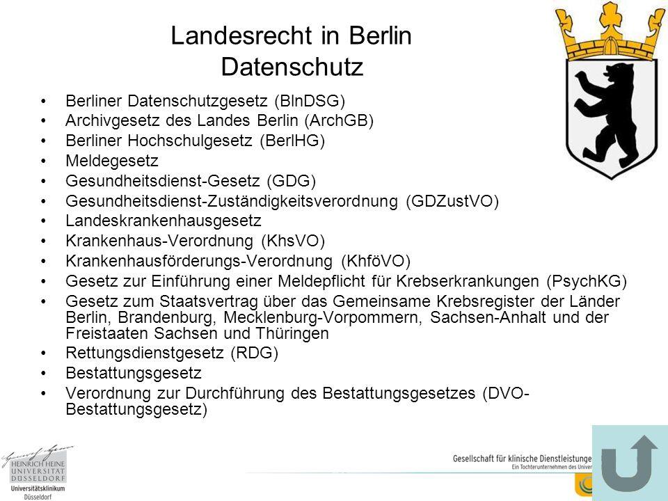 Landesrecht in Berlin Datenschutz