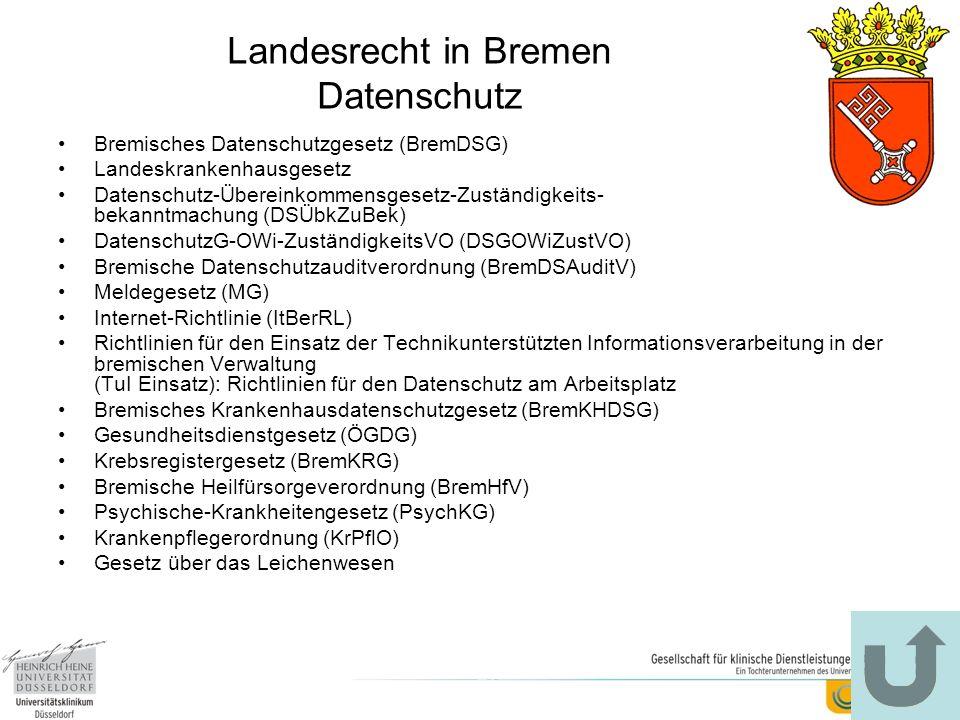 Landesrecht in Bremen Datenschutz