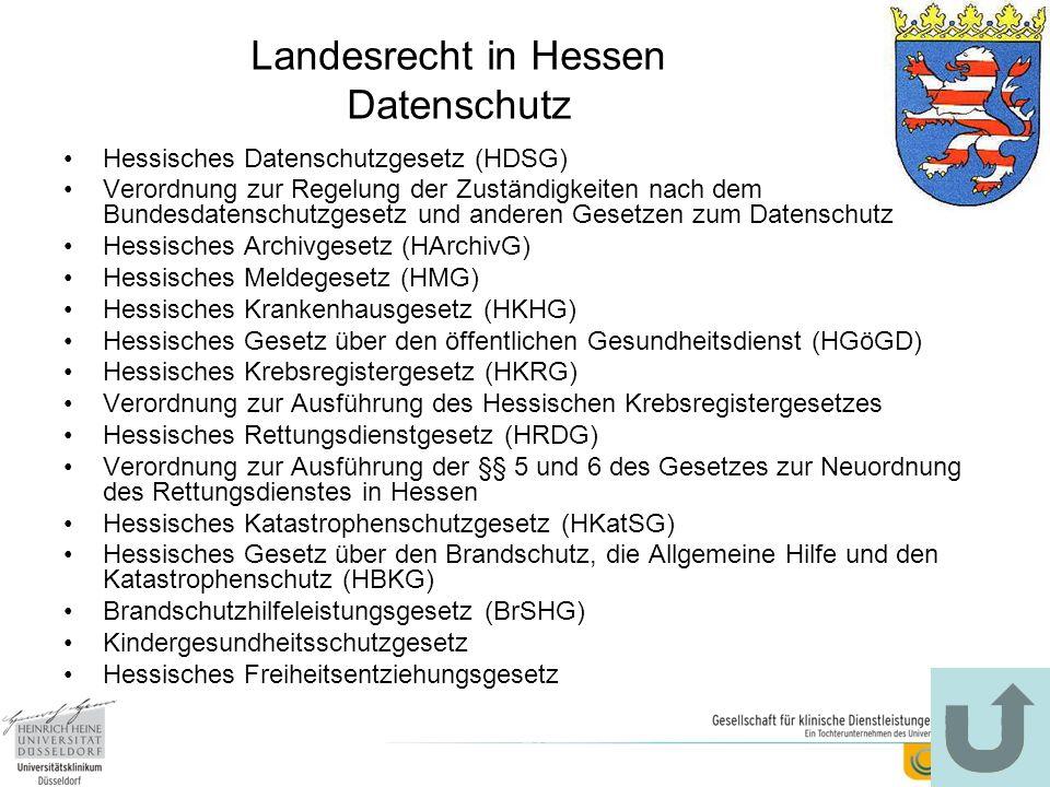 Landesrecht in Hessen Datenschutz