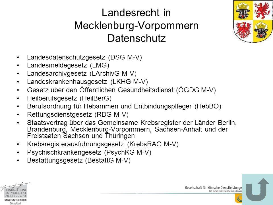 Landesrecht in Mecklenburg-Vorpommern Datenschutz