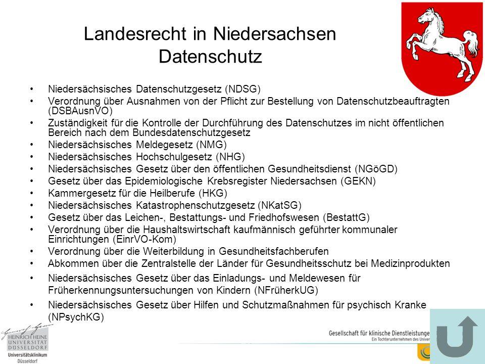 Landesrecht in Niedersachsen Datenschutz