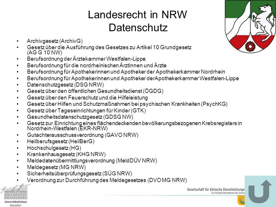 Landesrecht in NRW Datenschutz