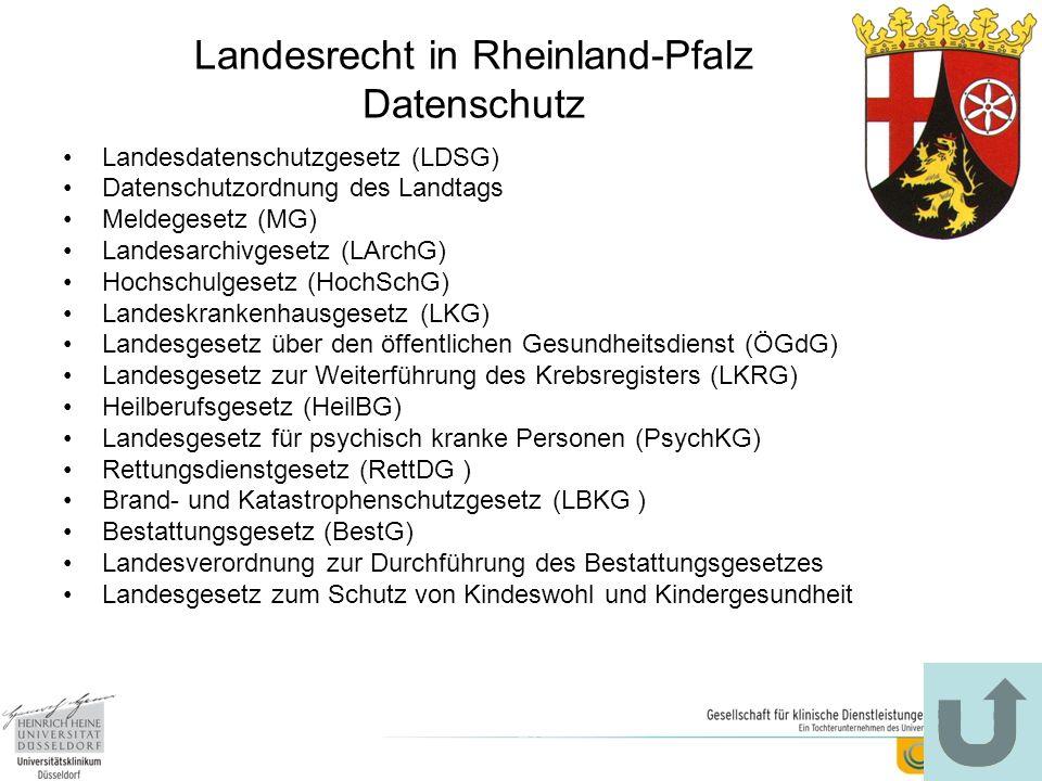 Landesrecht in Rheinland-Pfalz Datenschutz