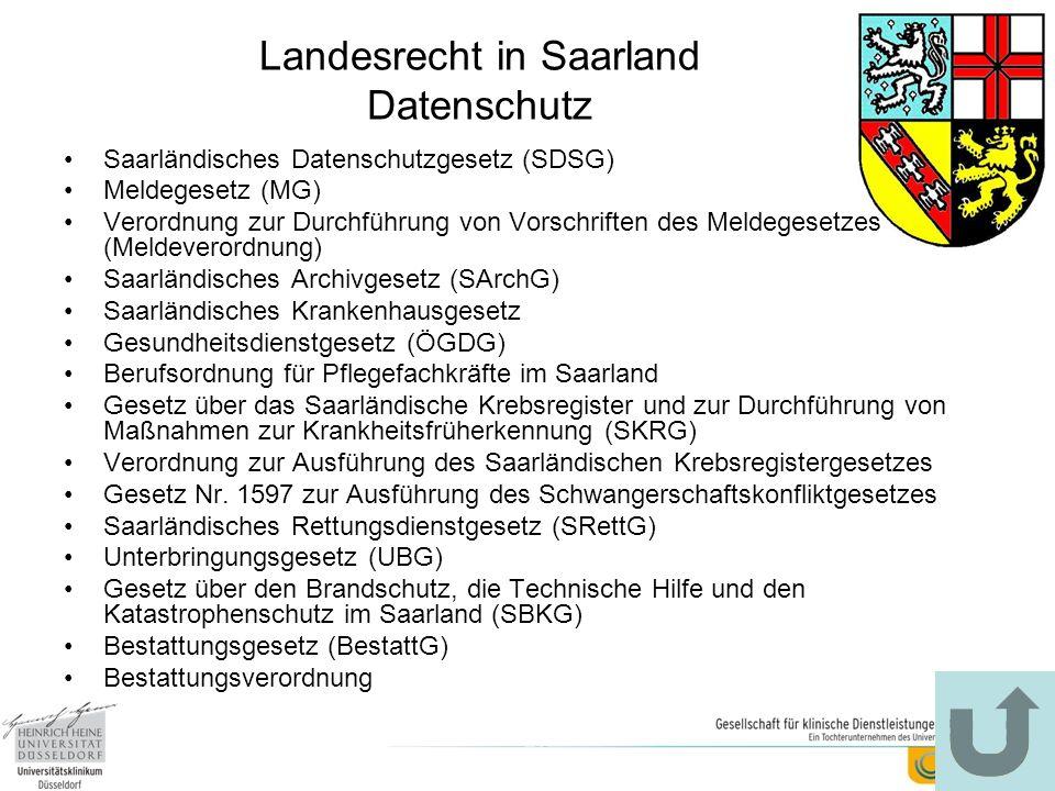 Landesrecht in Saarland Datenschutz