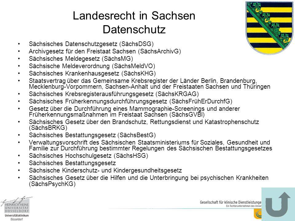 Landesrecht in Sachsen Datenschutz