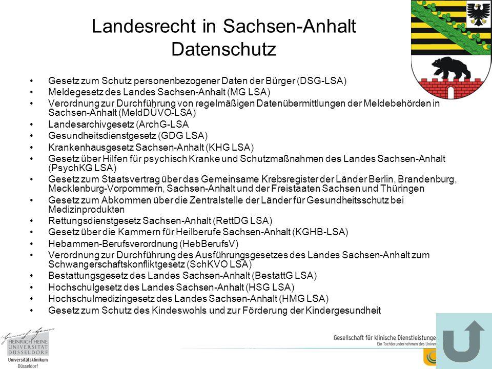 Landesrecht in Sachsen-Anhalt Datenschutz