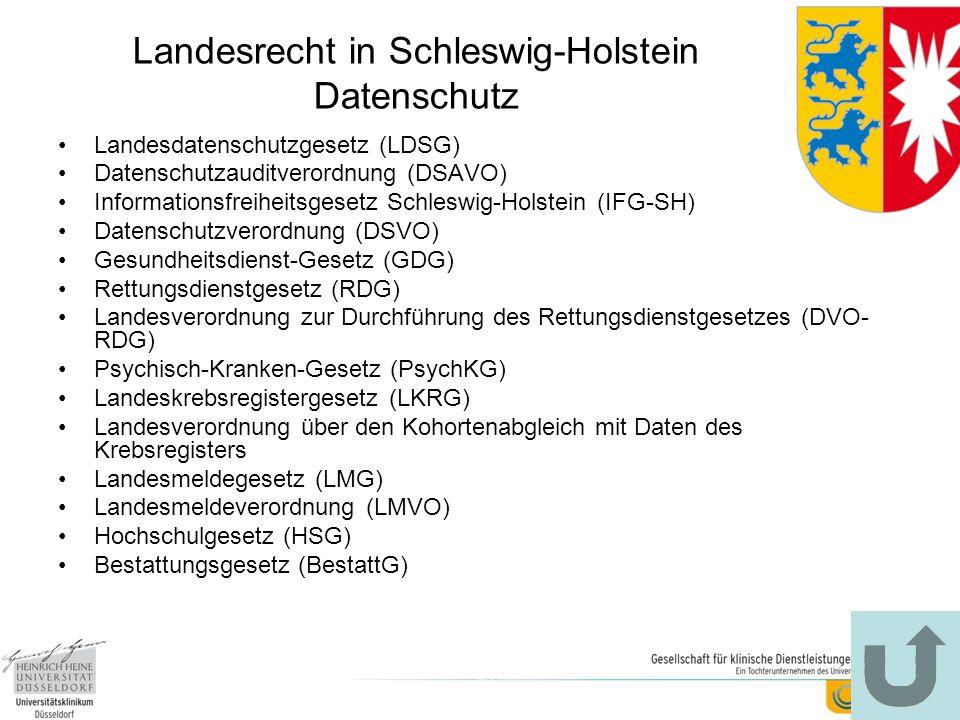 Landesrecht in Schleswig-Holstein Datenschutz