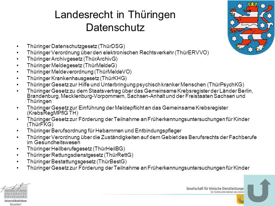 Landesrecht in Thüringen Datenschutz