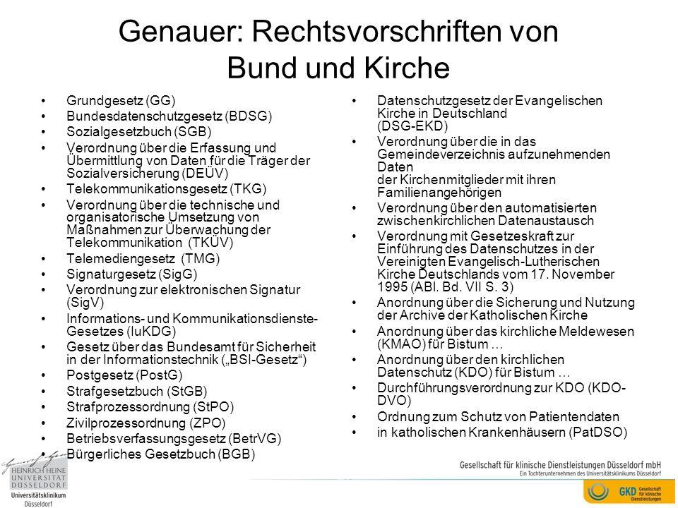 Genauer: Rechtsvorschriften von Bund und Kirche
