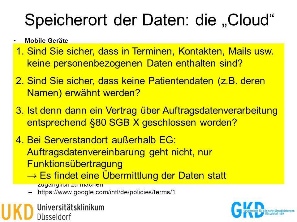 """Speicherort der Daten: die """"Cloud"""