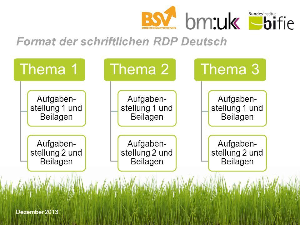 Format der schriftlichen RDP Deutsch