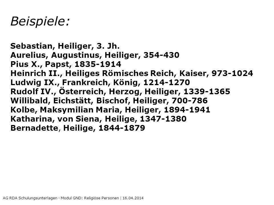 Beispiele: Sebastian, Heiliger, 3. Jh.