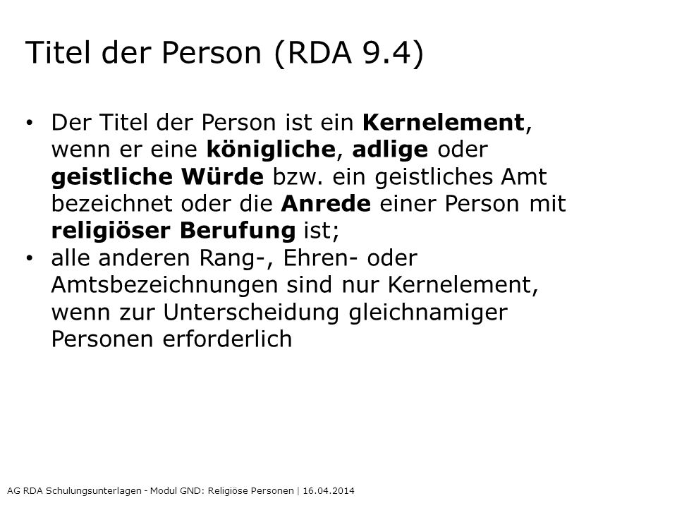 Titel der Person (RDA 9.4)