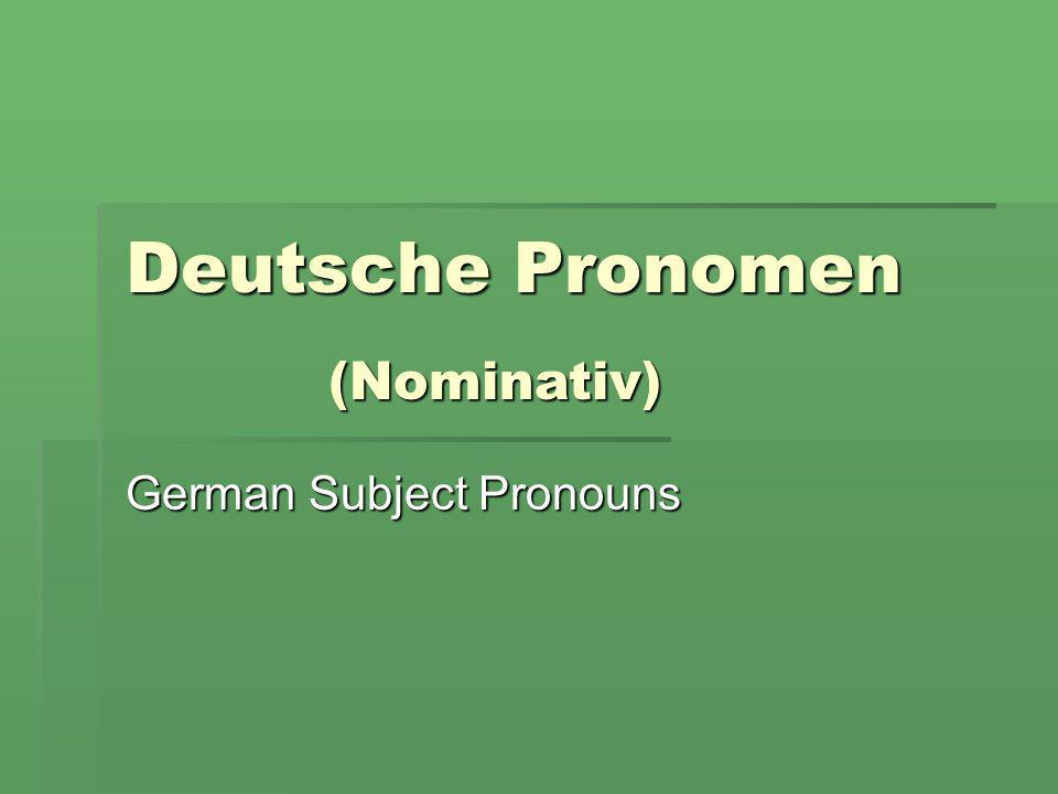 German Subject Pronouns