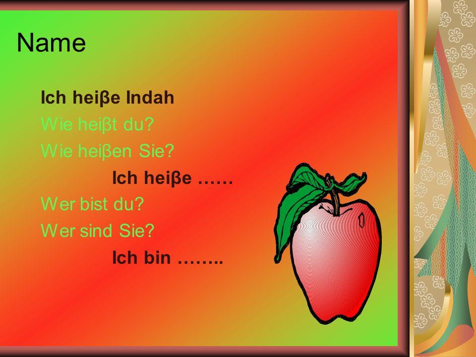 Name Ich heiβe Indah Wie heiβt du Wie heiβen Sie Ich heiβe ……