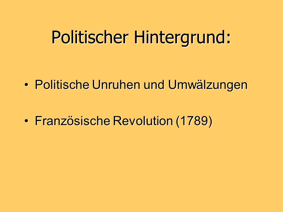 Politischer Hintergrund: