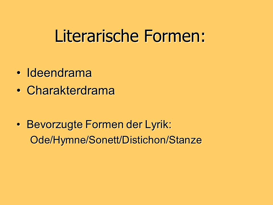 Literarische Formen: Ideendrama Charakterdrama