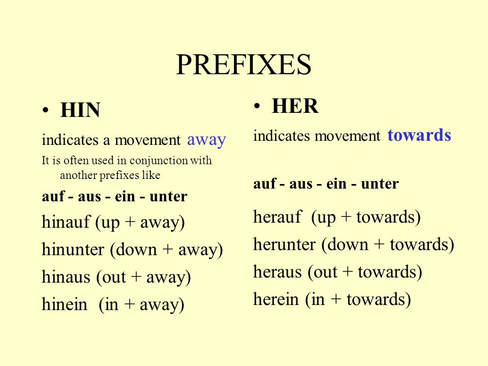 PREFIXES HER HIN herauf (up + towards) hinauf (up + away)