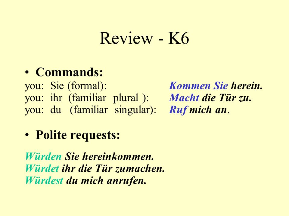 Review - K6 Commands: Polite requests: