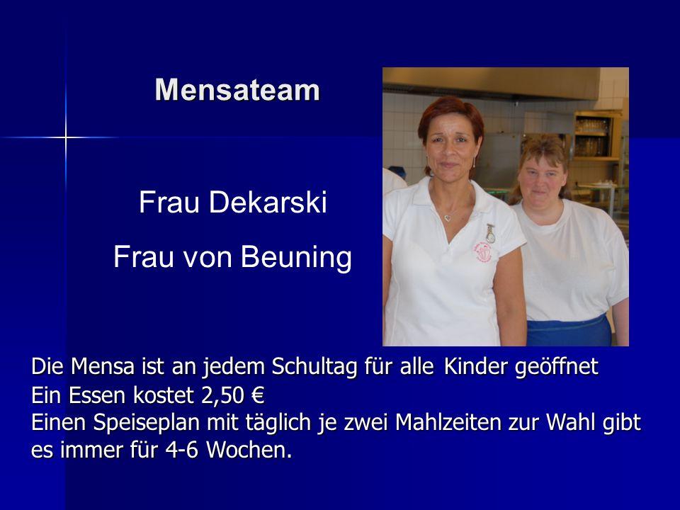 Mensateam Frau Dekarski Frau von Beuning