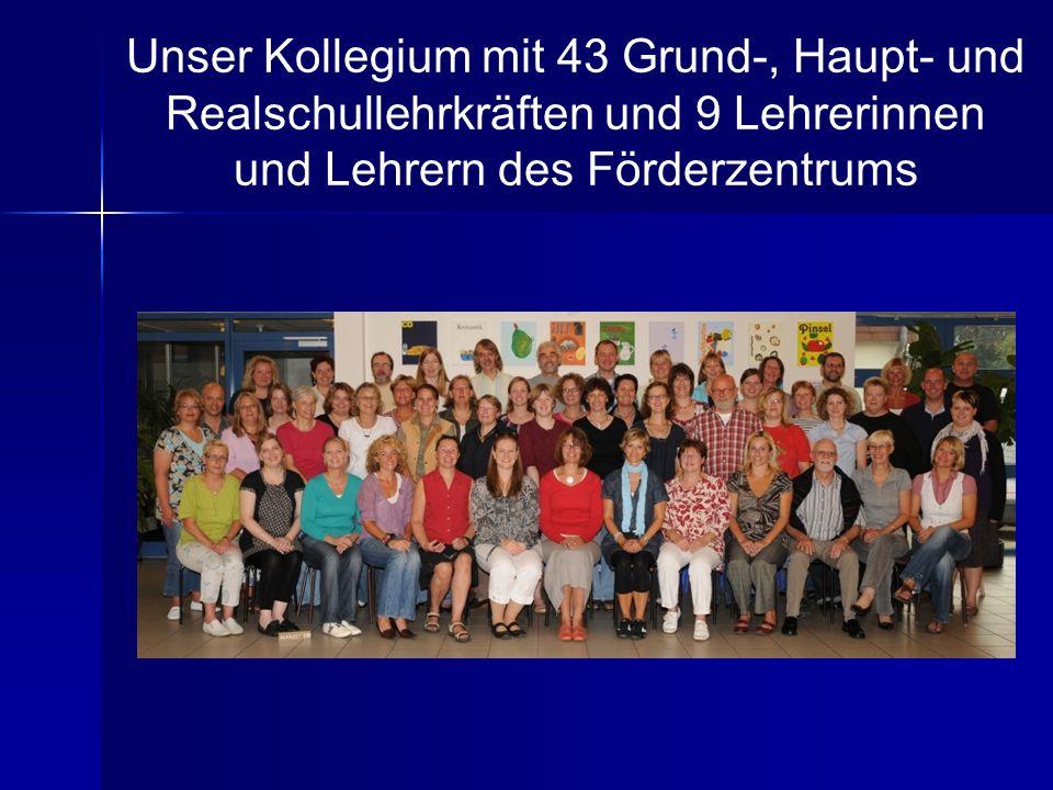 Unser Kollegium mit 43 Grund-, Haupt- und Realschullehrkräften und 9 Lehrerinnen und Lehrern des Förderzentrums