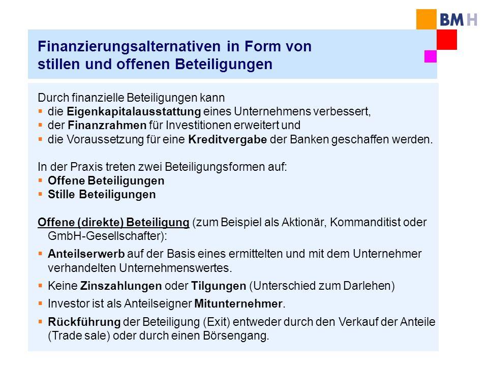 Finanzierungsalternativen in Form von stillen und offenen Beteiligungen