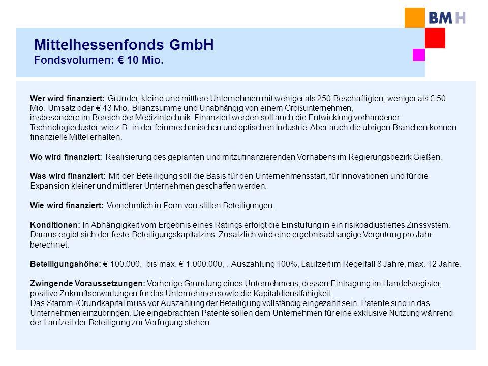Mittelhessenfonds GmbH Fondsvolumen: € 10 Mio.