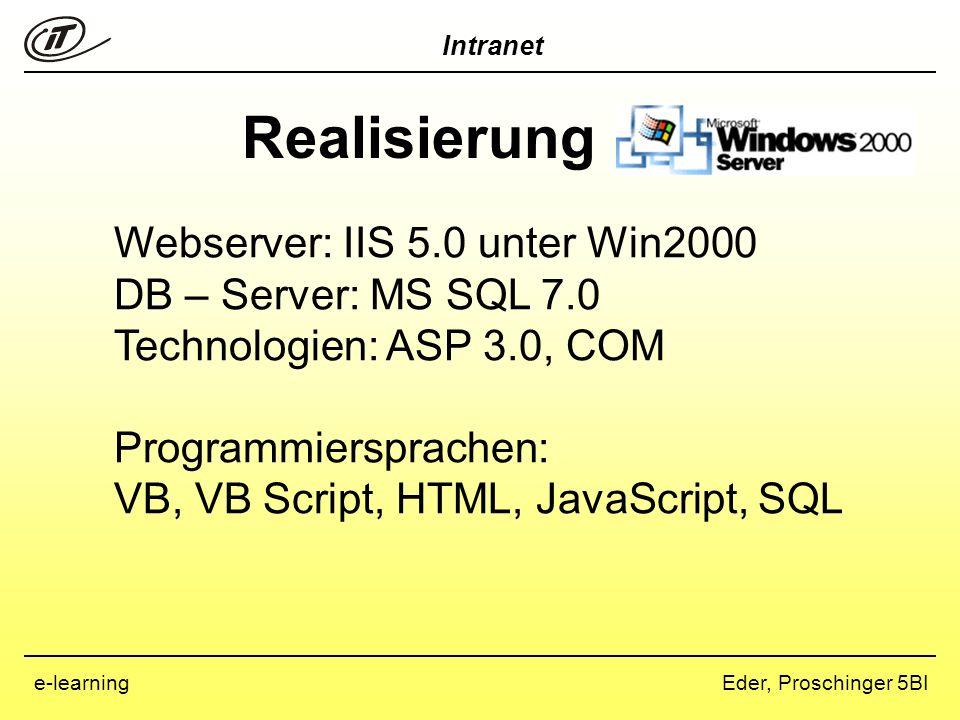 Realisierung Webserver: IIS 5.0 unter Win2000 DB – Server: MS SQL 7.0
