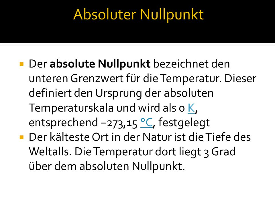 Absoluter Nullpunkt