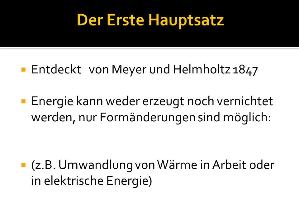 Der Erste Hauptsatz Entdeckt von Meyer und Helmholtz 1847