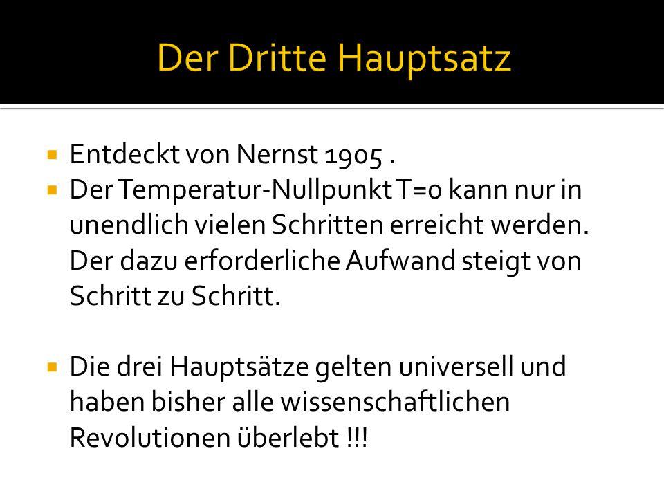 Der Dritte Hauptsatz Entdeckt von Nernst 1905 .