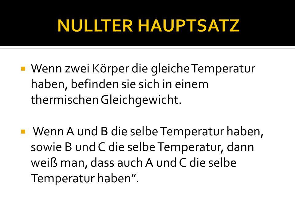 NULLTER HAUPTSATZ Wenn zwei Körper die gleiche Temperatur haben, befinden sie sich in einem thermischen Gleichgewicht.