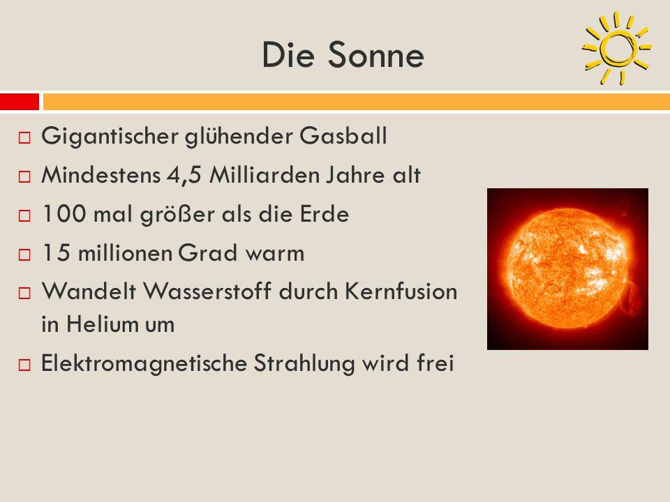Die Sonne Gigantischer glühender Gasball