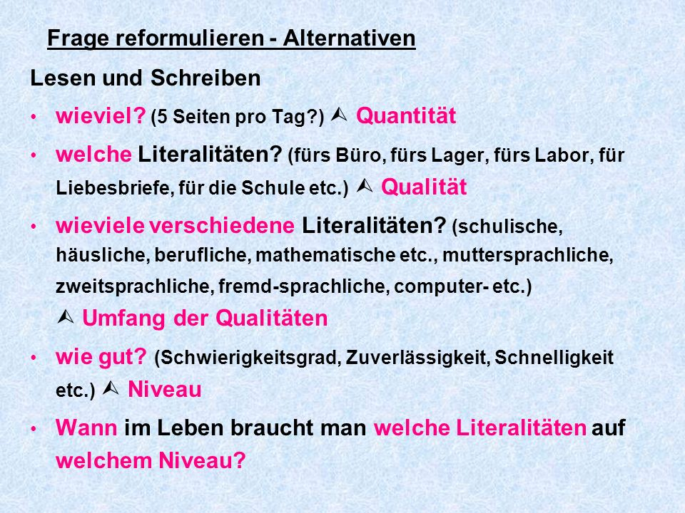 Frage reformulieren - Alternativen