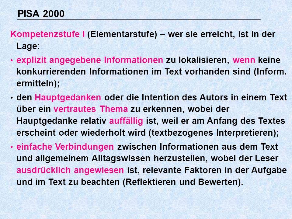 PISA 2000 Kompetenzstufe I (Elementarstufe) – wer sie erreicht, ist in der Lage: