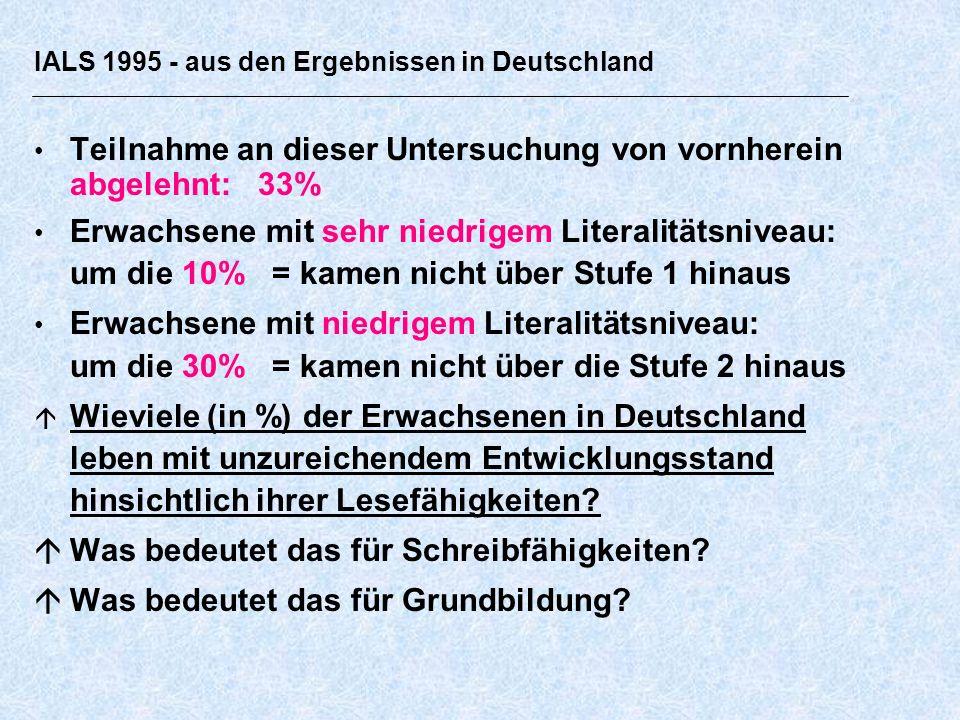IALS 1995 - aus den Ergebnissen in Deutschland