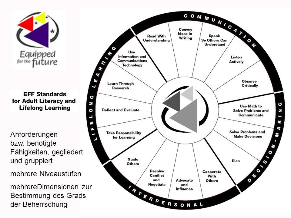 Anforderungen bzw. benötigte Fähigkeiten, gegliedert und gruppiert