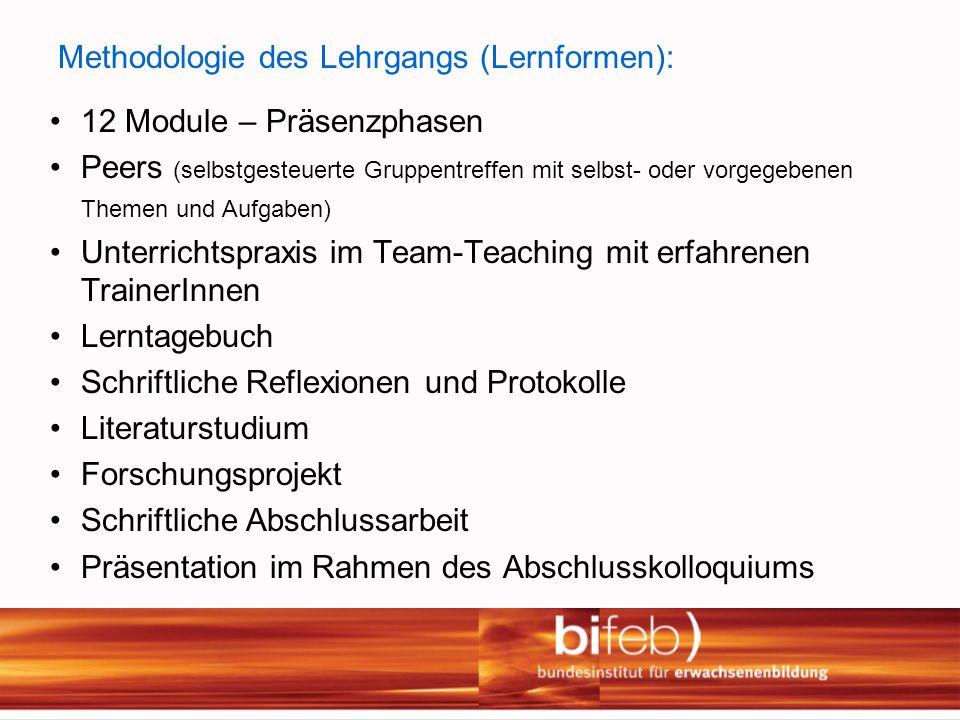 Methodologie des Lehrgangs (Lernformen):