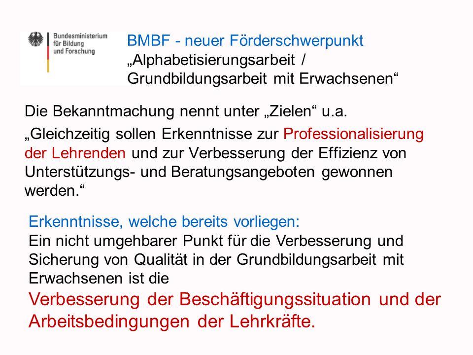 """BMBF - neuer Förderschwerpunkt """"Alphabetisierungsarbeit / Grundbildungsarbeit mit Erwachsenen"""