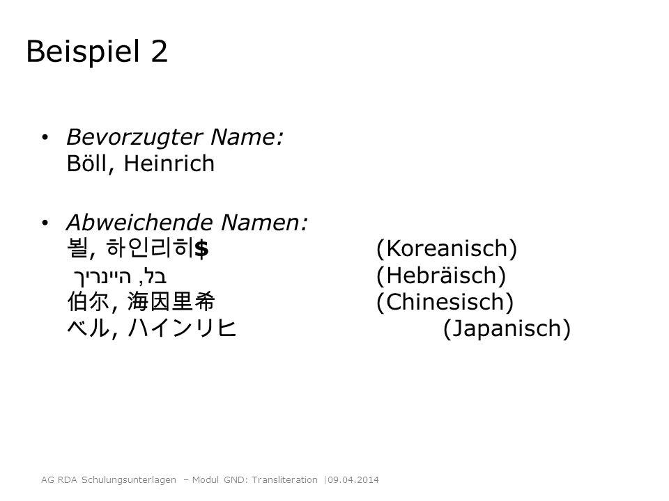 Beispiel 2 Bevorzugter Name: Böll, Heinrich