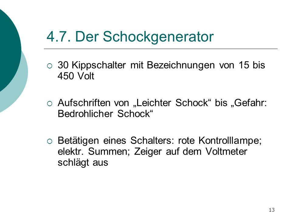 """4.7. Der Schockgenerator 30 Kippschalter mit Bezeichnungen von 15 bis 450 Volt. Aufschriften von """"Leichter Schock bis """"Gefahr: Bedrohlicher Schock"""