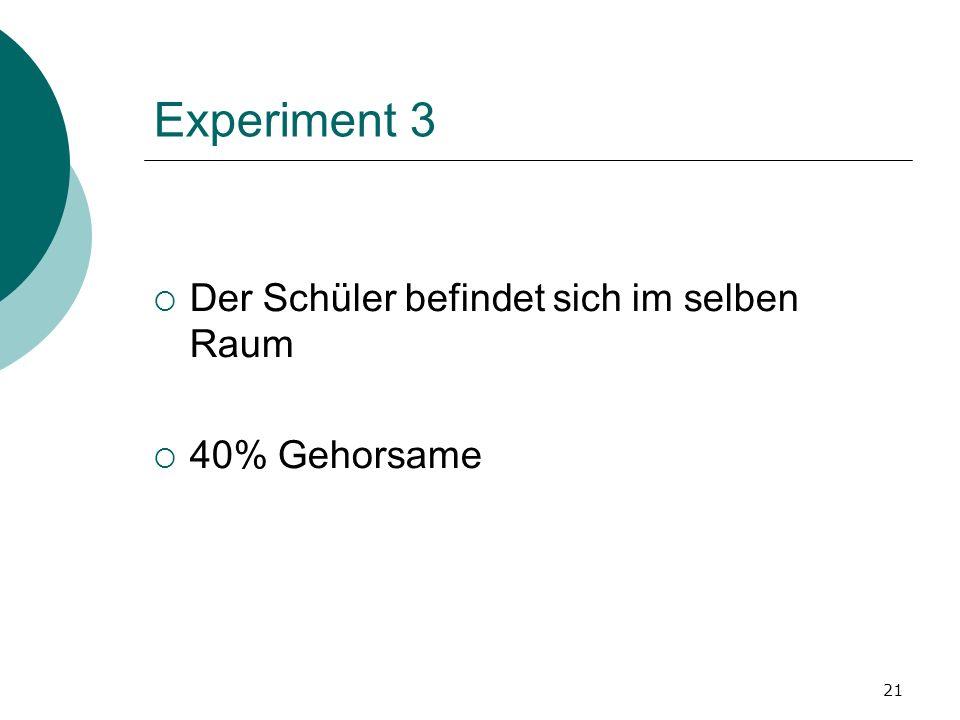 Experiment 3 Der Schüler befindet sich im selben Raum 40% Gehorsame