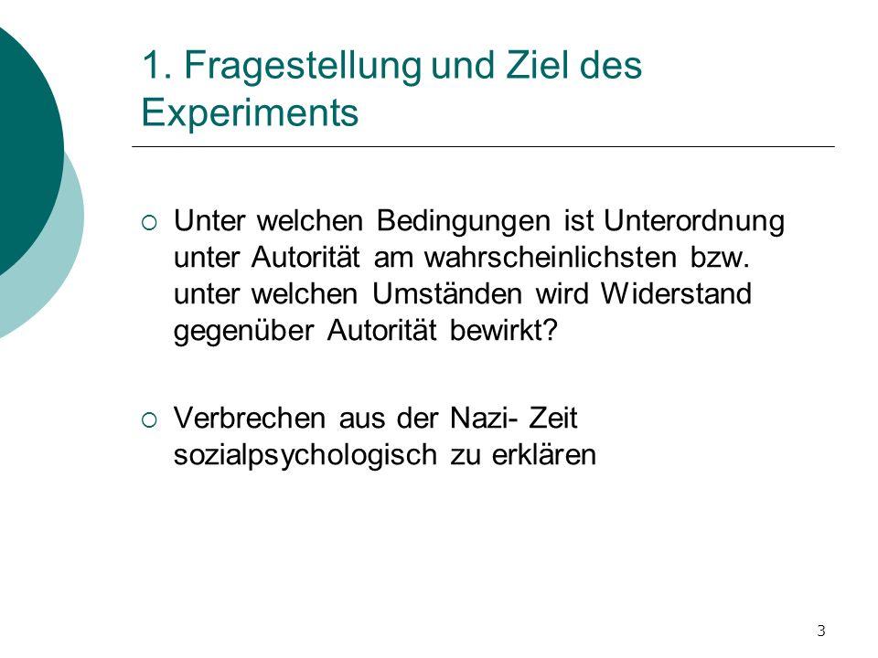 1. Fragestellung und Ziel des Experiments