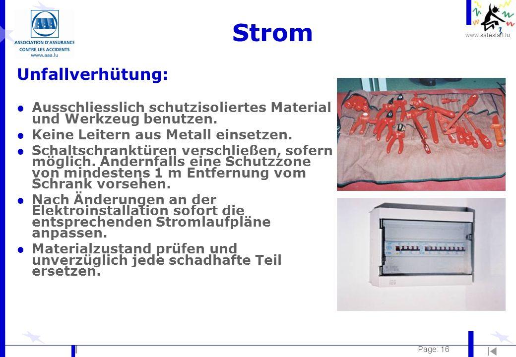 Strom Unfallverhütung: